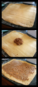 roll dough, add and spread filling