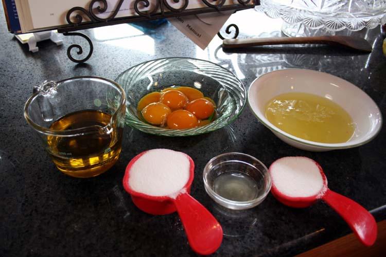 mise en place for lemon olive oil cake