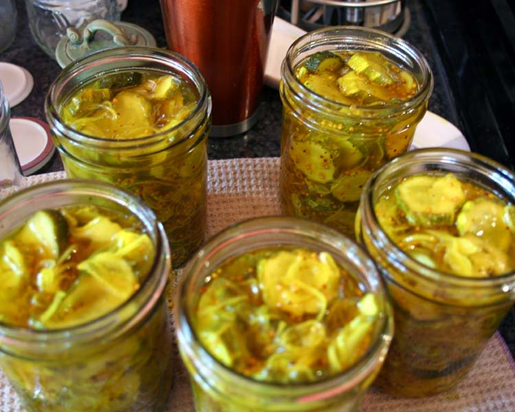 put bread and butter pickles in jars