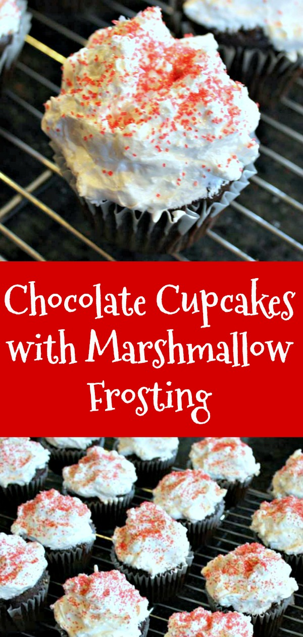 chocolate cupcakes with marshmallow frosting, chocolate cupcakes recipe