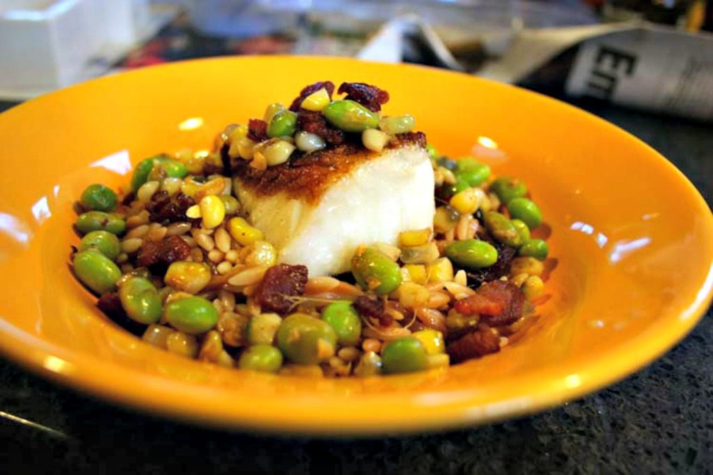 how to cook Chilean sea bass, Chilean sea bass recipe, Chilean sea bass on toasted orzo with corn, edamame and bacon, sea bass recipe, celebration recipe