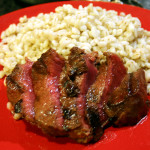 Grilled Venison Steak with Dark Chocolate Balsamic Marinade and Allspice Rub