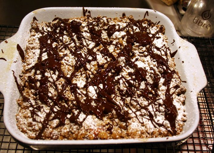 Crumb Cake Recipe with Apricot Filling and Chocolate Drizzle