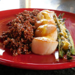 Asparagus Recipe: Scallops and Asparagus with Orange Hollandaise. Red Millet