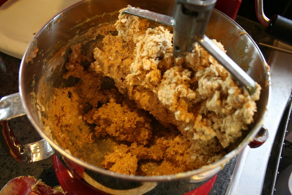add the oats and flour