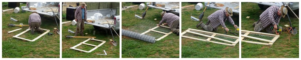 putting up a fence, building a gate