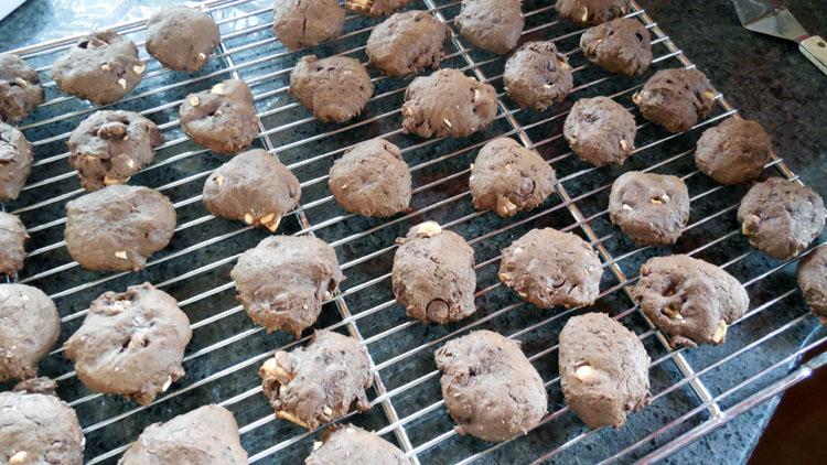 cool chocolate banana cookies on wire rack