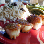 Scallops with Red Apple Balsamic Glaze and Seasoned Jasmine Rice