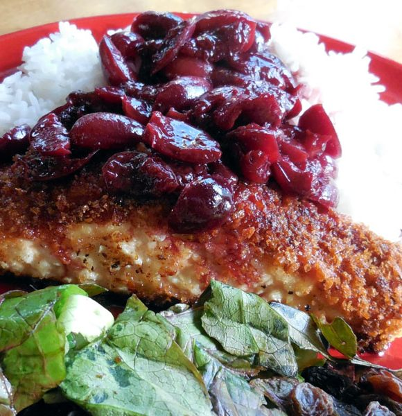 Anderson Seafoods Delivers Delicious Salmon:  Salmon with Cherry Red Wine Sauce on Jasmine Rice – Recipe #spon