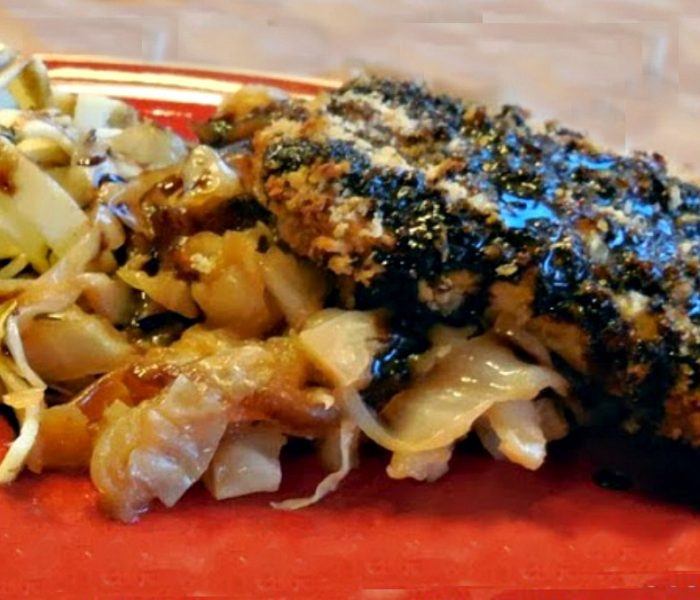 Crunchy Baked Pork with Cabbage, Apples and Onions and a Honey Balsamic Sauce – Recipe