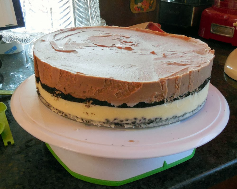 ice cream cake on turntable