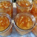 ginger spiced pear jam in jars