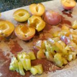 canning plum sauce, chopping plums