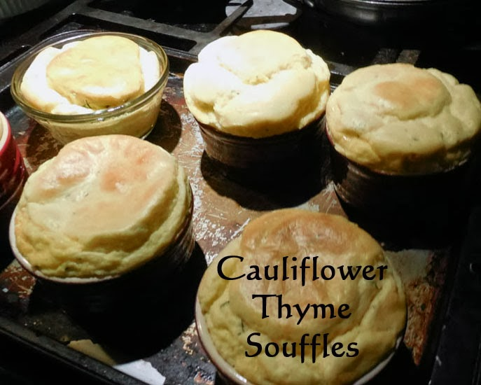 cauliflower thyme souffles, salmon on fried green tomatoes with a balsamic reduction, AD