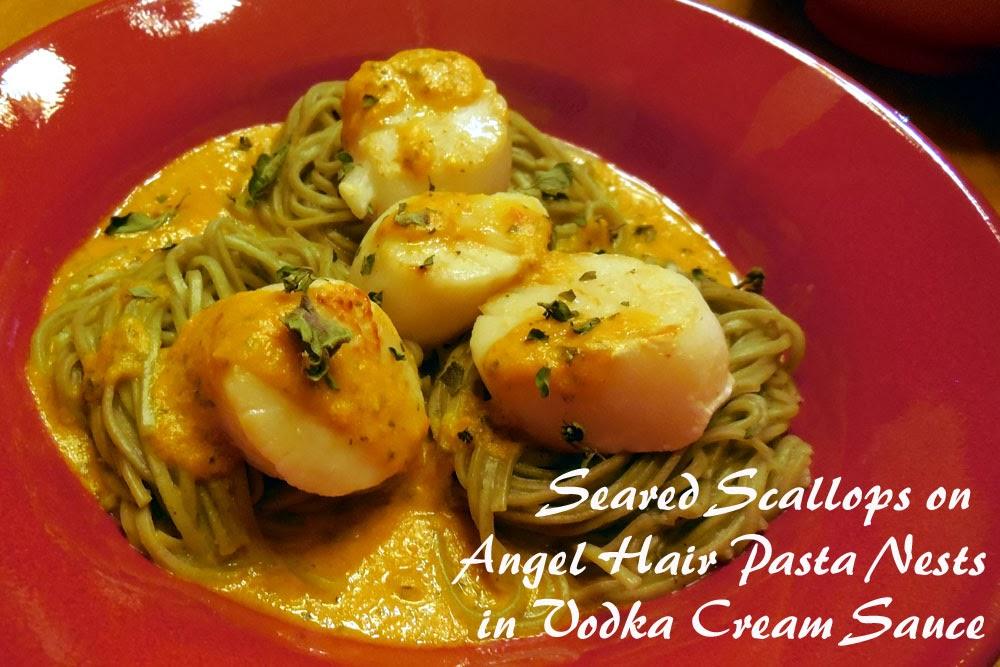 Seared Scallops on Angel Hair Pasta Nests in Vodka Cream ...