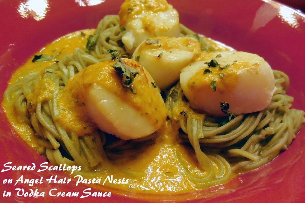 Seared Scallops on Angel Hair Pasta Nests in Vodka Cream ...
