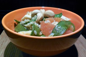 mixed seafood and citrus rice salad