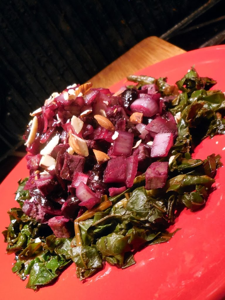 low calorie recipe, Beets Onions Cherries and Beef on Sauteed Kale