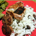"""Blackened"" Seafood Medley on Orange Scented Rice with Raisins – A Valentine's Meal for 350 Calories!"