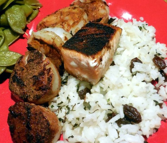 """Low Calorie Valentine's Day Recipe – """"Blackened"""" Seafood Medley on Orange Scented Rice"""