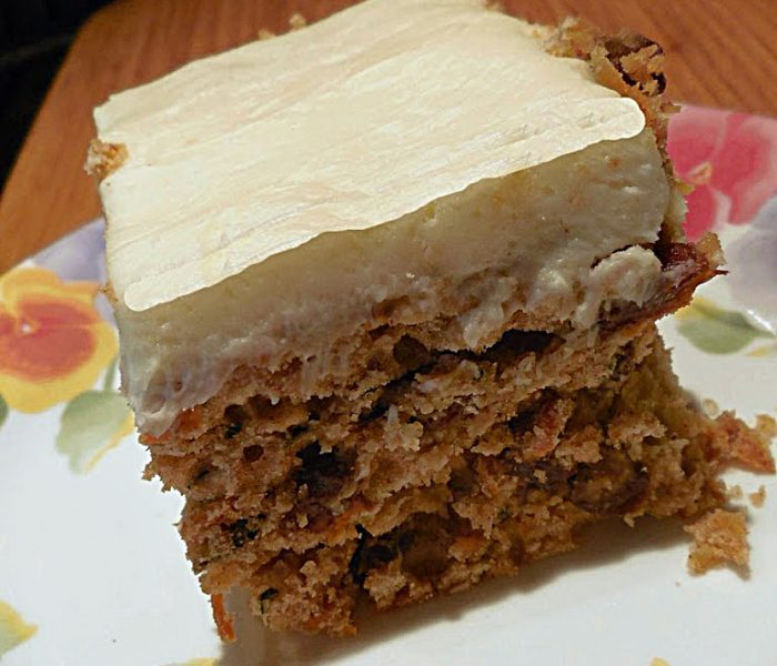 Snack Cake Recipe: Spiced Carrot and Zucchini Cake with Cream Cheese Frosting