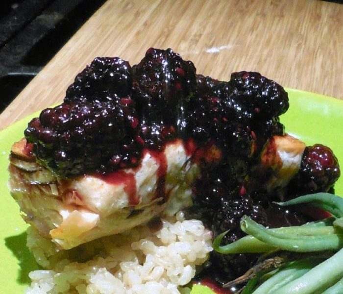 Salmon with Fig Balsamic and Blackberry Sauce on Brown Rice