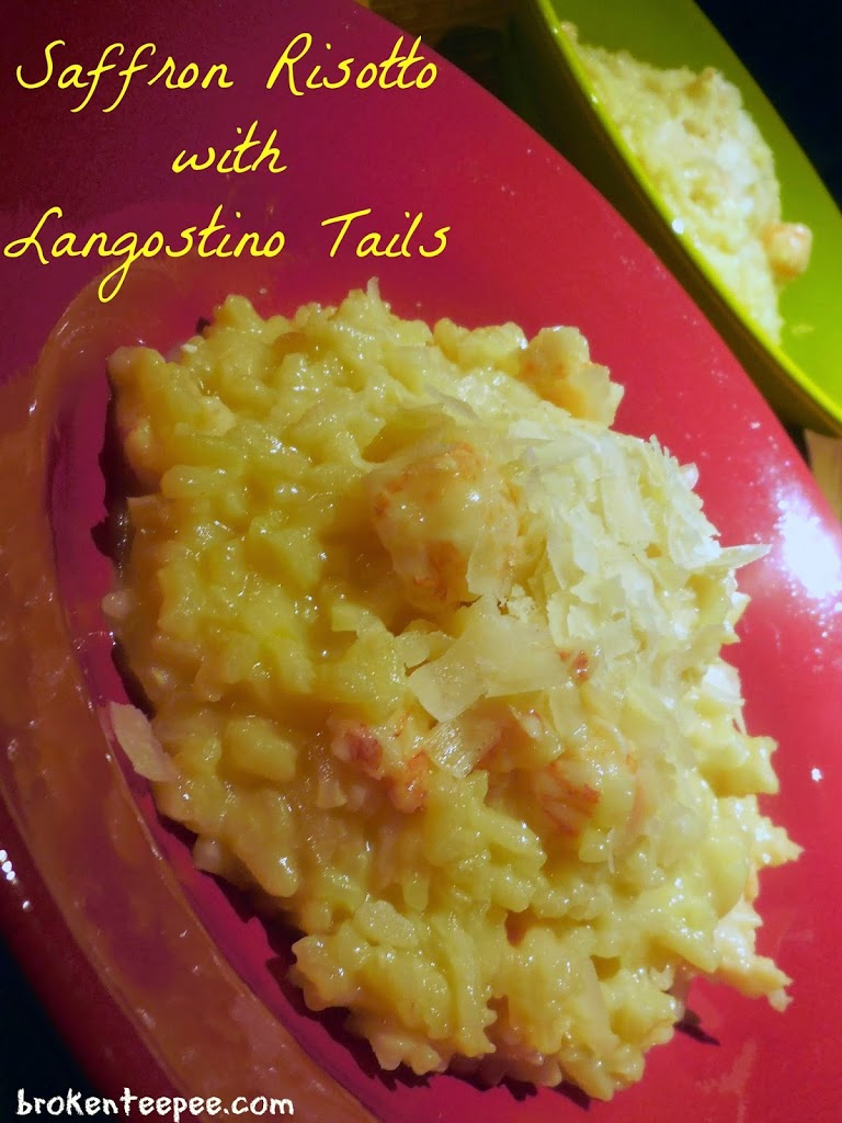 risotto recipe, saffron risotto with langostino tails