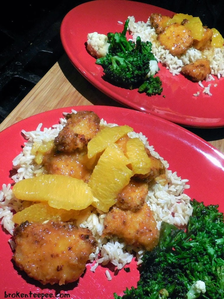 chicken recipe, sweet and spicy orange chicken, plated baked orange chicken recipe