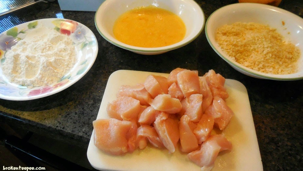 mise en place for breading chicken for baked orange chicken recipe