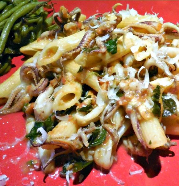Calamari Recipe: Penne and Calamari with Tomato and Basil
