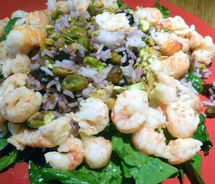 Cherry Pistachio Rice Salad with Langostinos – Recipe