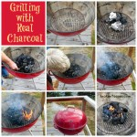 grilling with real charcoal, apple marinated sea bass