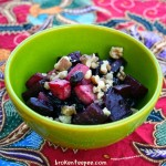 beet salad with apples, raisins and walnuts