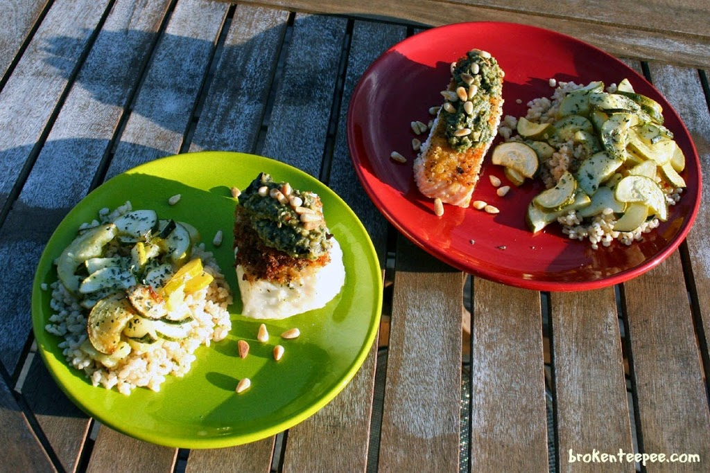 Chilean Sea Bass with Eggplant Pesto, Salmon with Eggplant Pesto, eggplant pesto recipe, AD
