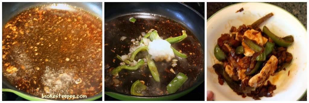deglaze pan and cook onions and peppers