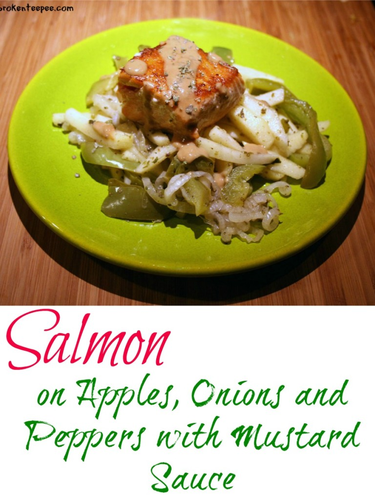 Salmon on Apples, Onions and Peppers with Mustard Sauce - a 350 Calorie Meal