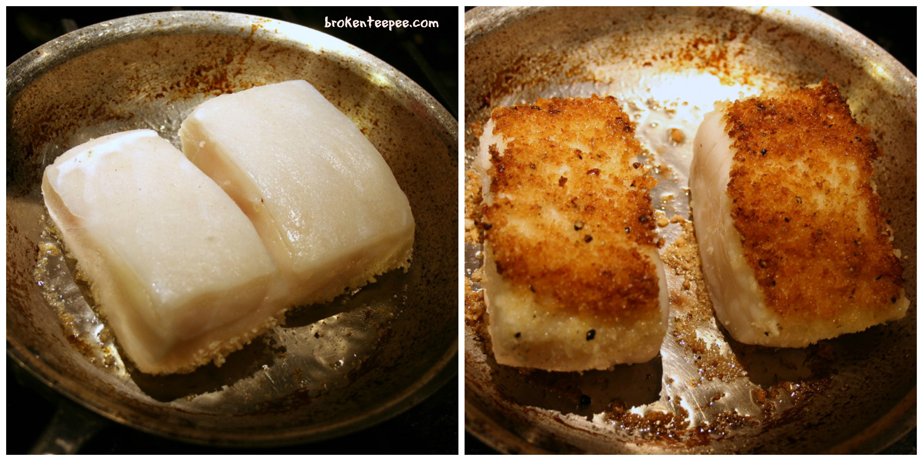 added my breadcrumbs to the other side of the sea bass while it was ...