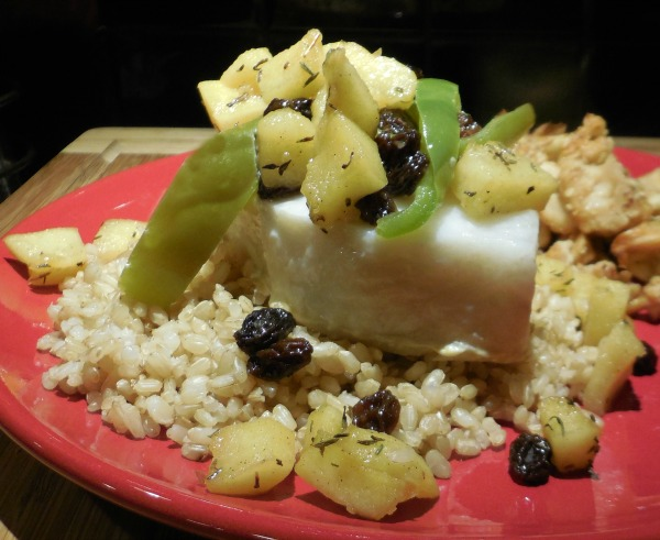 Anniversary Dinner: Chilean Sea Bass en Papillote with Bourboned Apples