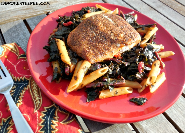 Healthy Salmon Recipe: Salmon on Kale with Penne and Goji Berries