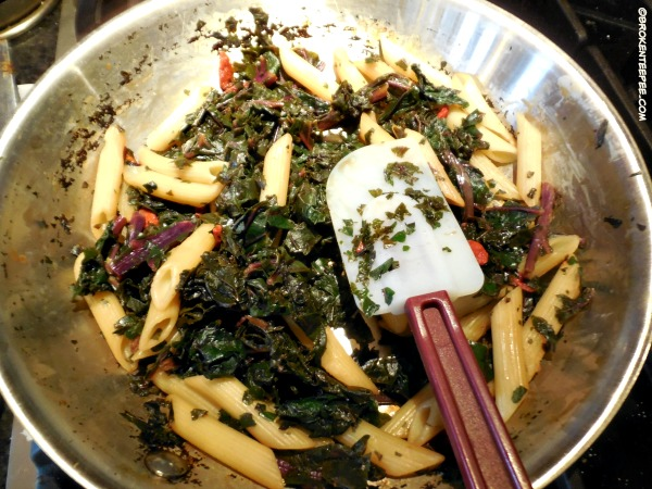 cook kale, add penne and goji berries