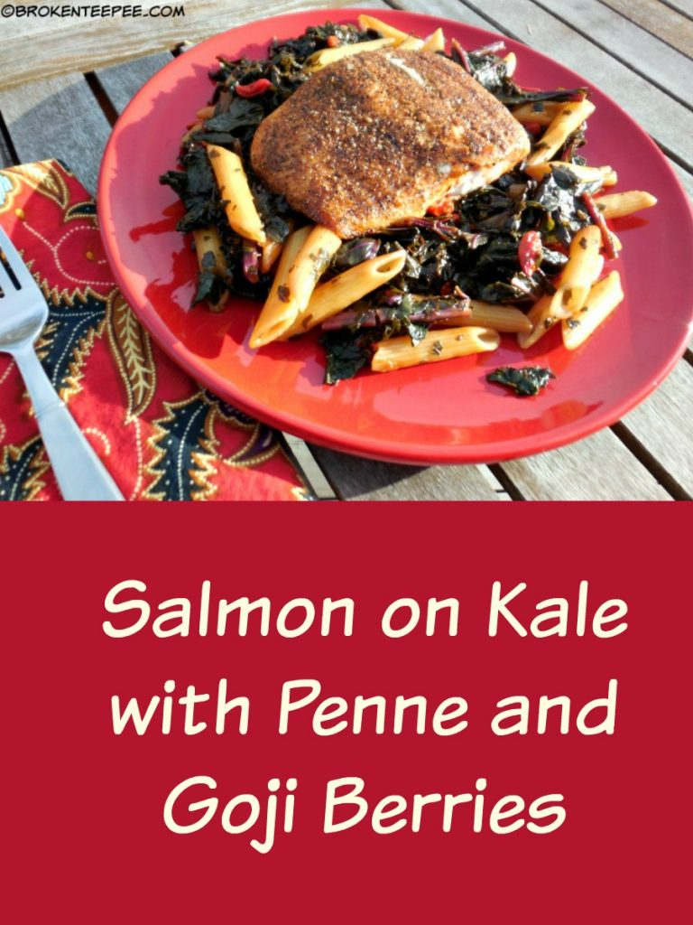 healthy salmon recipe, salmon on kale with penne and goji berries