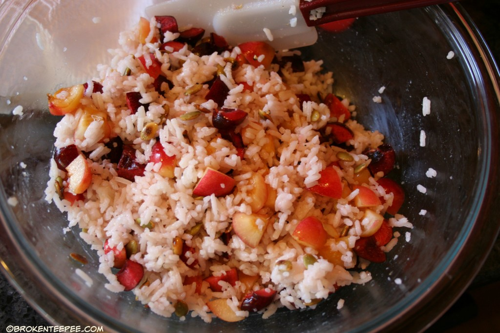 rice salad, Scallops with Cherries and Pumpkin Seeds, Anderson Seafoods, sponsored