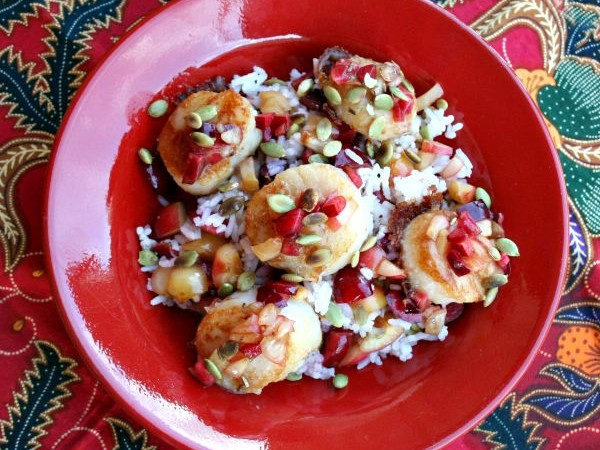 Scallops with Cherries and Pumpkin Seeds, Anderson Seafoods, sponsored
