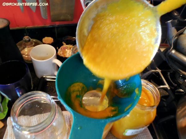 add soup to jars, ginger carrot soup, canning