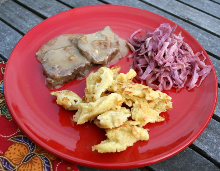Sauerbraten, pickled red cabbage and spaetzle