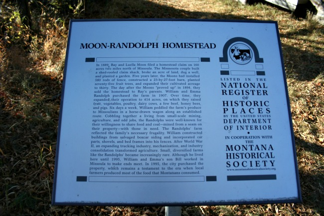 Moon Randolph Homestead sign