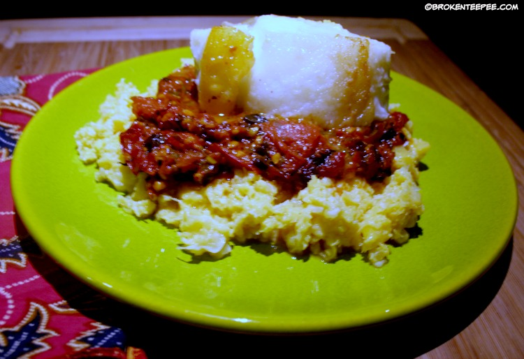 Pan Seared Chilean Sea Bass on Mashed Cauliflower with Roasted Fresh Tomato Sauce