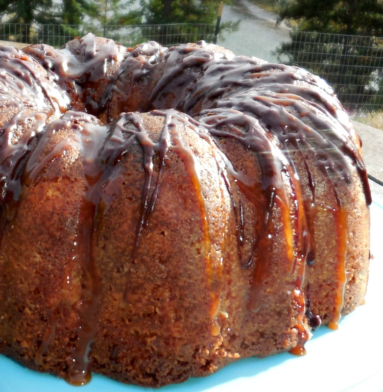 Pear Streusal Bundt Cake with Salted Caramel and Chocolate Drizzle