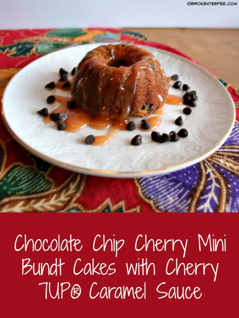 Cherry 7UP®, New Year's Dessert, Chocolate Chip Cherry Mini Bundt Cakes with Cherry 7UP® Caramel Sauce, #BrighTENtheSeason, #CollectiveBias, #ad