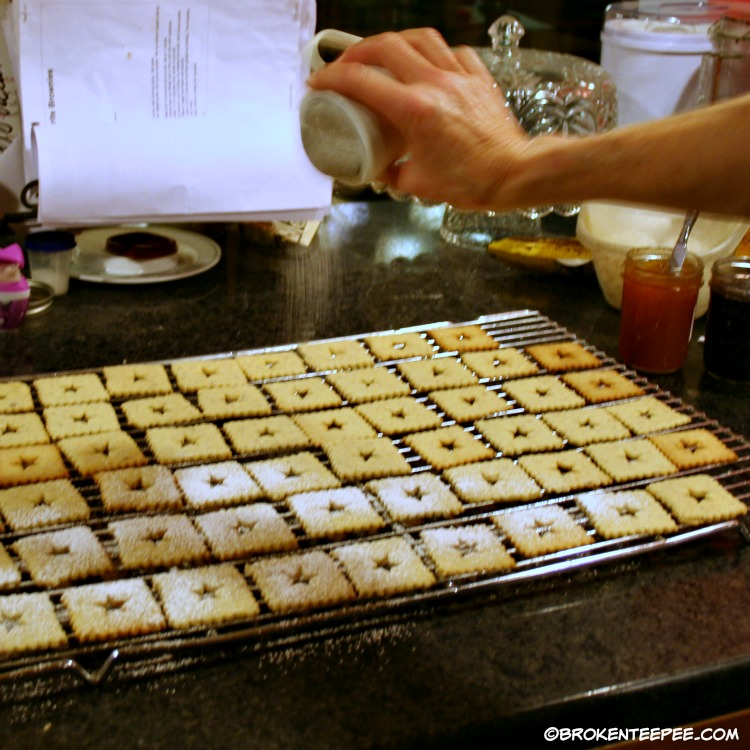 Holiday cookies, Linzer tarts, sprinkle tops with powdered sugar